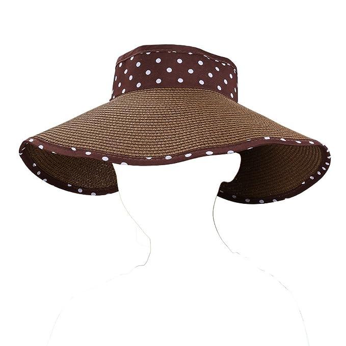 3606d48b1 Roll up Dot Foldable Lady's Sun Hat Wide Brim Sun Block Visor Travel ...