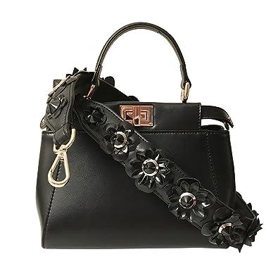 Black Flower Leather Bag Strap (Strap Only) Purse Strap ...