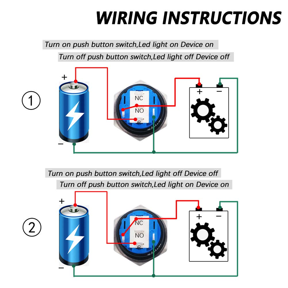 """mxuteuk 16mm Momentary Push Button Switch 1 NO 1 NC SPDT ON//OFF Silver Stainless Steel Shell with 12v Green LED Ring With Wire Socket Plug Suitable for 5//8/"""" Mounting Hole M-16-O-T-G"""