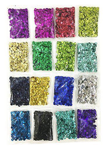 (12800 Pieces Loose Sequins Bulk Cup Sequin Iridescent Spangles for DIY Arts Crafts Making,Rainbow Cup Sequin for Wedding Decoration, 6 mm, 160g 16 Colors)