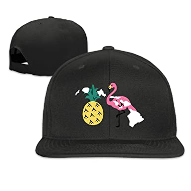 Image Unavailable. Image not available for. Color  Hawaii Islands Pineapple  Flamingo Plain Adjustable Snapback Hats Men s Women s Baseball Caps 206f5a82282c