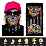 3D Headwear, Skull Face Mask, Magic Scarf, Neck Gaiter, Bandana, Balaclava, Headband for Cycling, Motorcycling, Running, Skateboarding, Moisture Wicking UV Protection, Great for Men & Women