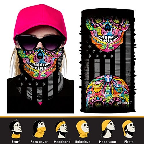 Motorcycle Bandana (JOEYOUNG 3D Face Sun Mask, Neck Gaiter, Headwear, Magic Scarf, Balaclava, Bandana, Headband for Fishing, Hunting, Yard Work, Running, Motorcycling, UV Protection, Great for Men & Women)