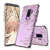 Galaxy S9 Plus Case,Galaxy S9 Plus Cover, MOSNOVO Cherry Blossom Floral Printed Flower Clear Design Plastic Hard Slim Back Case with TPU Bumper Case Cover for Samsung Galaxy S9 Plus