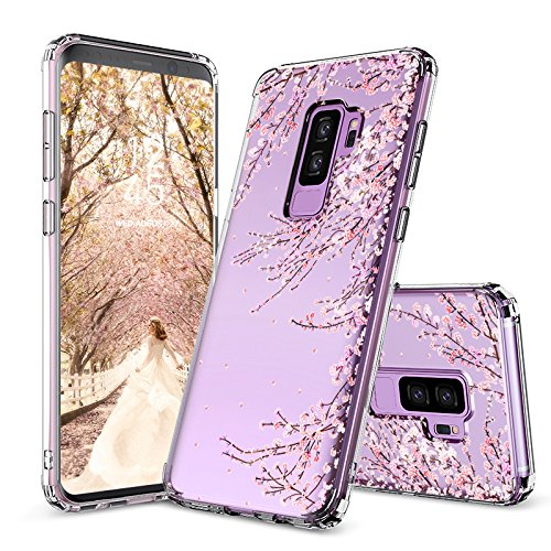 Cherry Cell Phone Case - Galaxy S9 Plus Case,Galaxy S9 Plus Cover, MOSNOVO Cherry Blossom Floral Printed Flower Clear Design Plastic Hard Slim Back Case with TPU Bumper Protective Case Cover for Samsung Galaxy S9 Plus (2018)