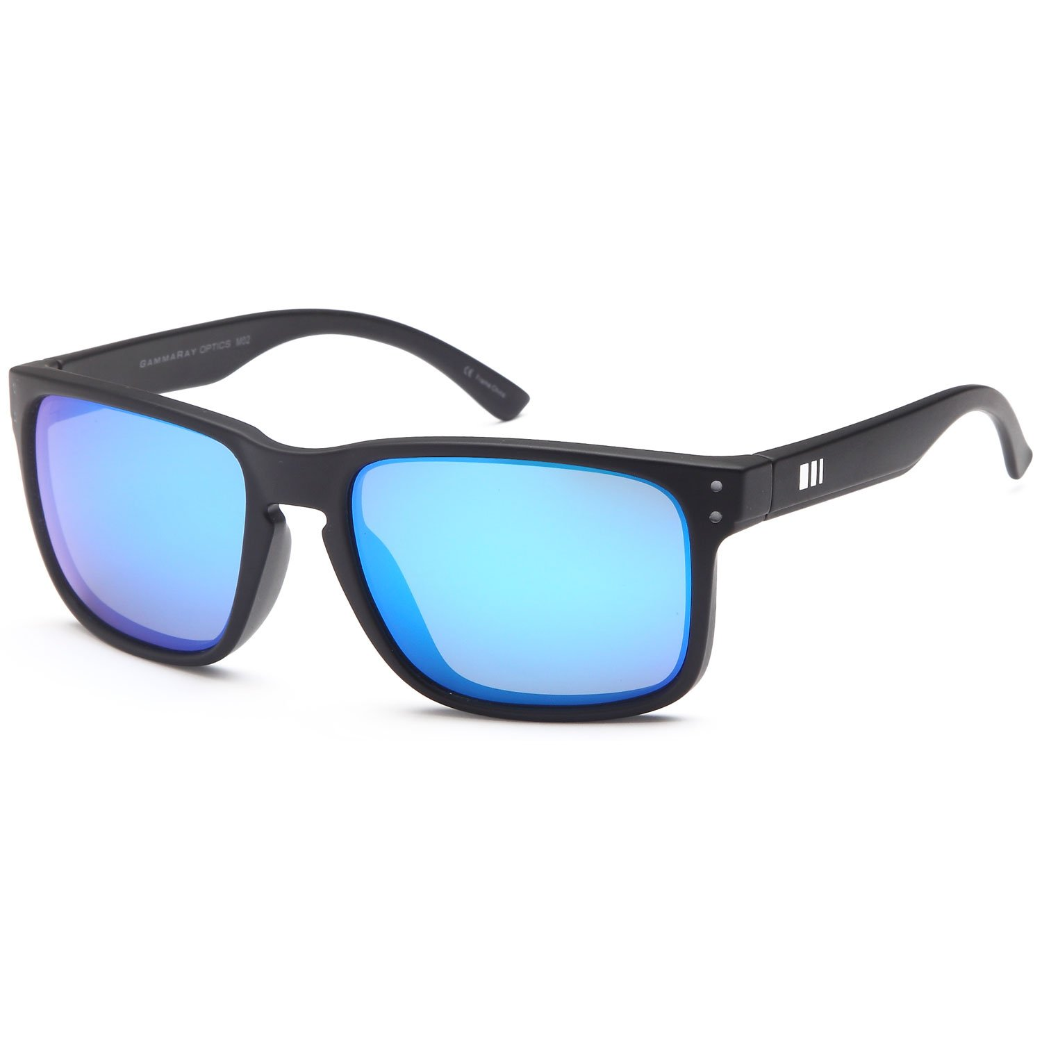4951fb45d89 Amazon.com  Gamma RAY Polarized UV400 Classic Sunglasses with Shatterproof  Nylon Frame - Black Frame Blue Mirror Lens  Sports   Outdoors