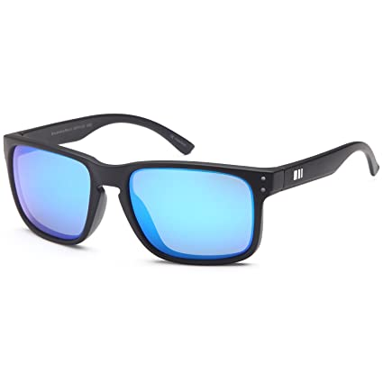 7dd7fd9c002 Gamma RAY Polarized UV400 Classic Sunglasses with Shatterproof Nylon Frame  - Black Frame Blue Mirror Lens