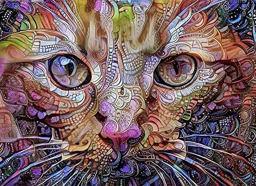 Orange Cat Fine Art Print - Colorful Psychedelic Wall Decor Artwork 8.5 x 11