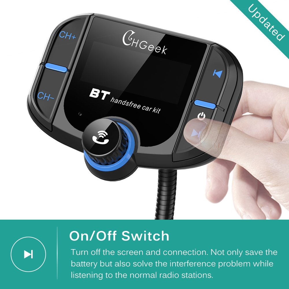 Bluetooth FM Transmitter for Car with Quick Charge 3.0 Car Charger Wireless Radio Audio Adapter Handsfree Calling Car Kit Input 1.7 inch Display by CHGeek (Image #6)