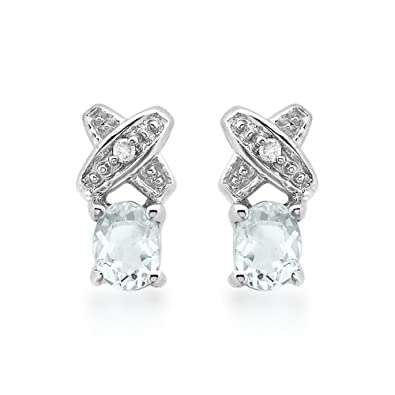 63201d81dd791 Carissima Gold 9ct White Gold Diamond and Aquamarine Kiss Stud ...