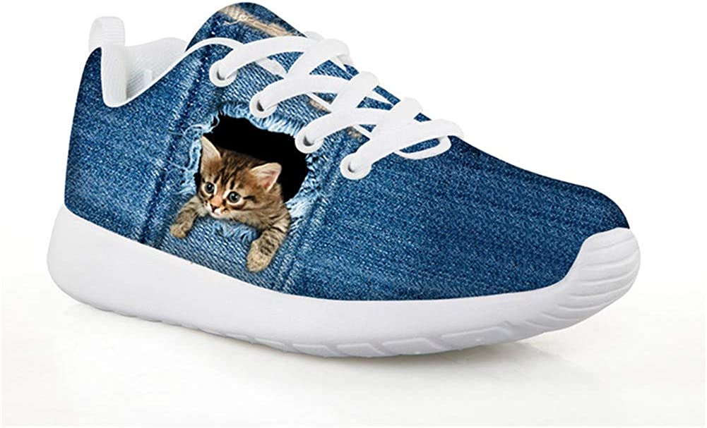 chaqlin Fashion Sneakers Athletic Sneaker Kids Child Single Shoes Running Walking Sports Fitness Shoes Cat Pattern Blue