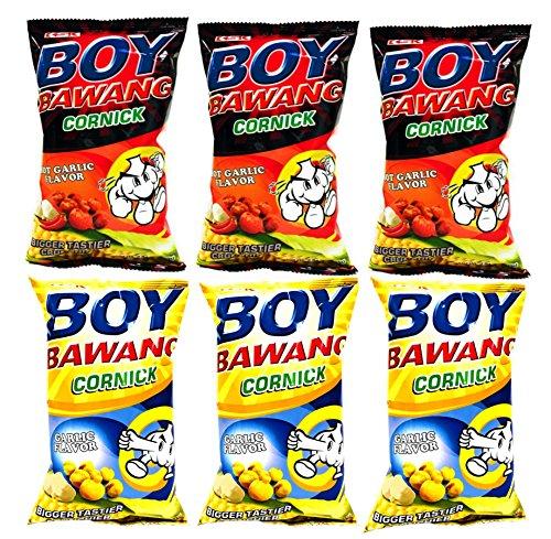 - Boy Bawang Cornick Garlic and Boy Bawang Cornick Hot Garlic Bundle, 3.54 oz, 3 packs each flavor, total 6 counts