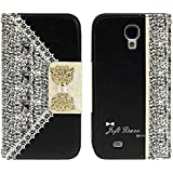 ABC Black Fashion Girl Woman Fresh Sweet Cute Flip Wallet Leather Case Cover for Samsung Galaxy S4 I9500