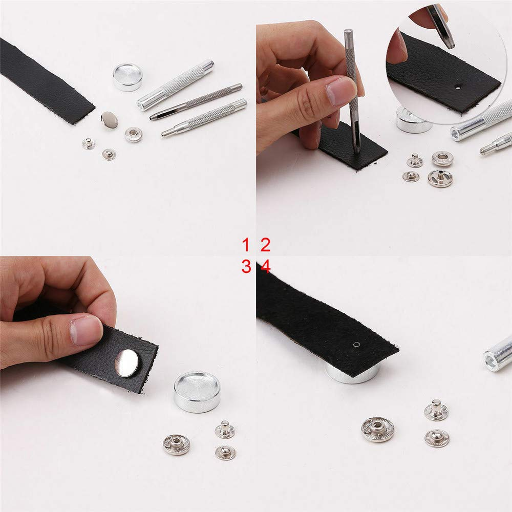 4 Colors Leather Snaps Button Press Studs Fixing Tool for Clothes DIY Craft Repairs with 4 Pieces Install Tools LQKYWNA 80 Set Snap Fasteners Kit