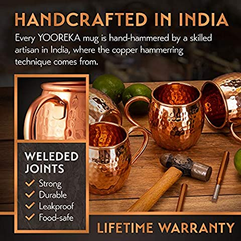 [Gift Set] Moscow Mule Mugs Set Of 4 16 oz. Solid Genuine 100% Pure Copper Cups HANDCRAFTED in India, Highest Quality…