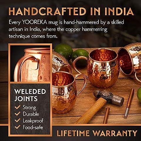 Moscow Mule Copper Mugs Set : 4 16 oz. Solid Genuine Copper Mugs Handmade in India,BONUS: Highest Quality, 4 Straws, 4…