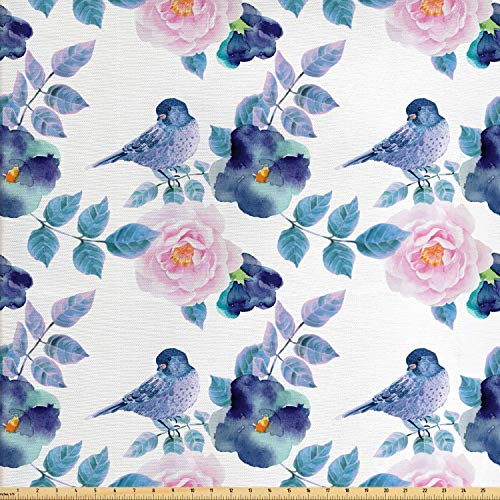 Lunarable Floral Fabric by The Yard, Watercolor Flower Petals and Bird Summer Spring Themed Artwork, Decorative Fabric for Upholstery and Home Accents, 1 Yard, Pale Pink Indigo Petrol Blue