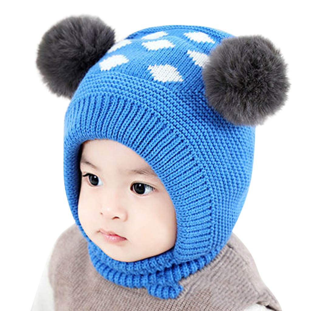 Little Kid Winter Warm Hat,Jchen(TM) Newborn Kids Baby Boy Girl Pom Hat Winter Warm Cartoon Beanie Cap Scarf Set for 0-3 Years Old (Blue)