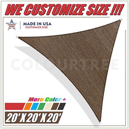 ColourTree 20' x 20' x 20' Brown Sun Shade Sail Triangle Canopy, UV Resistant Heavy Duty Commercial Grade, We Make Custom Size