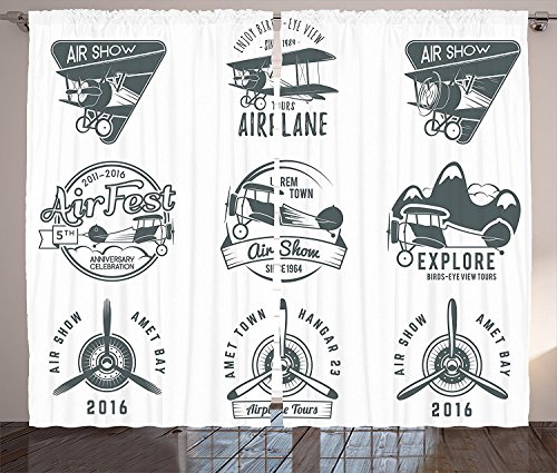 Airplane Decor Collection Airplane Emblems Biplane Labels Badges Design Elements Aviation Stamps Collection Print Living Room Bedroom Curtain 2 Panels Set Dimgrey (Badge Collection)