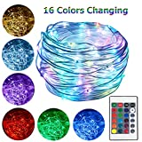 HAHOME 33Ft 100 LEDs Plug In Rope Lights Waterproof Color Changing Fairy String Lights with Remote for Indoor Outdoor Use