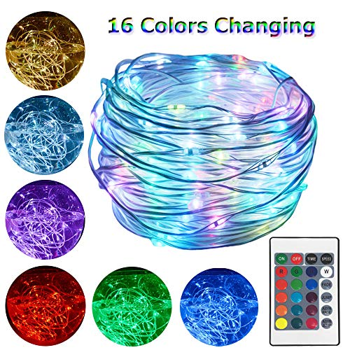 HAHOME 33Ft 100 LEDs Christmas Lights Waterproof Color Changing Fairy String Lights with Remote Control and Adapter for Indoor Outdoor Use