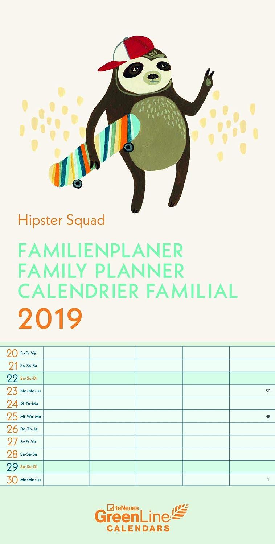 Calendario familiar 2019 Eco oficial Hipster Branché ...