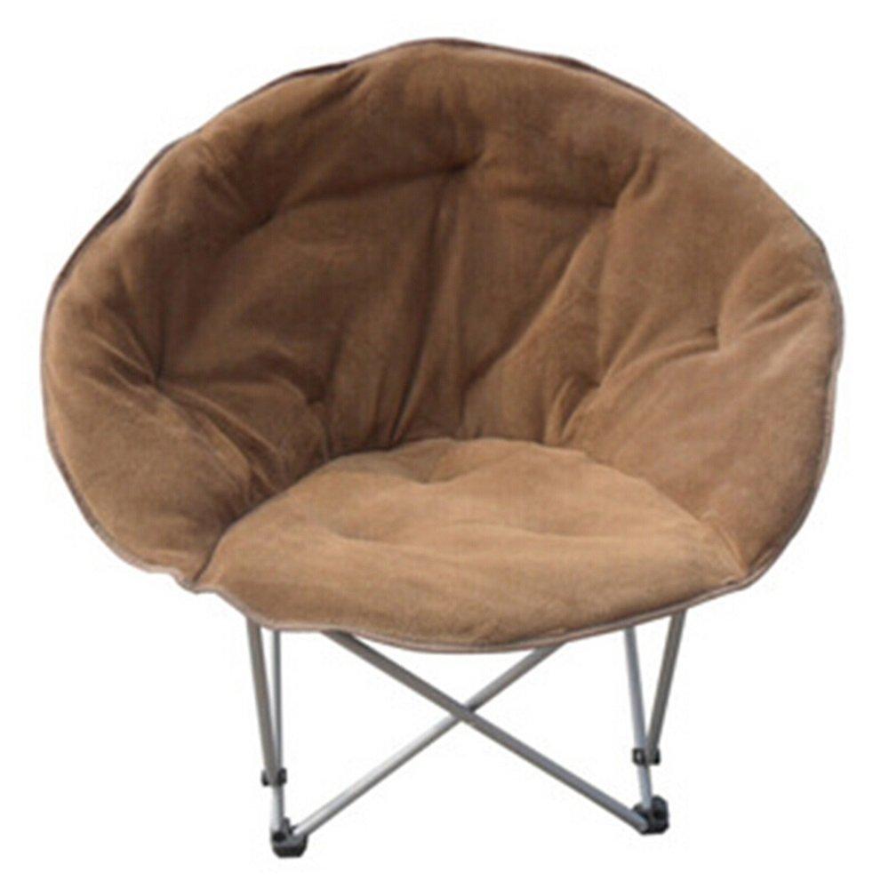 Folding chair / moon chair / computer chair / lazy chair / simple fashion solid sun chair /Lunch break / beach chair /Home chair / pregnant women chairs ( Color : Brown )