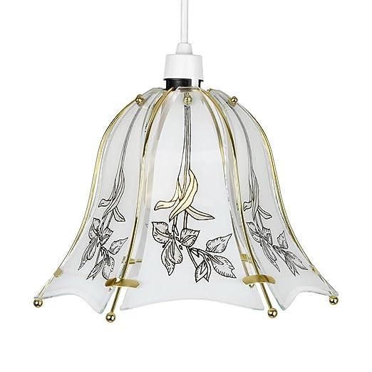 Brand New Gold Flower Glass Bell Ceiling Pendant Light