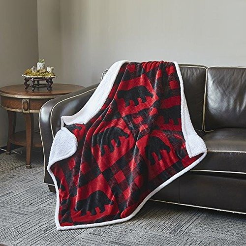 Virah Bella Red and Black Flannel Throw Blanket with Sherpa Backing
