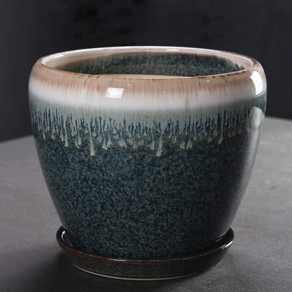 CKH Creativo Semplice Ceramica Scuro Flusso Smalto Vaso di Fiori Diviso con Vassoio Ispessimento Desktop Vaso di Fiori verde (Dimensione   M)