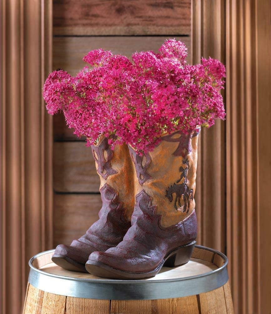 Flower Pot Boot Planter Rustic Western Cowboy Drain Garden Patio Deck Home