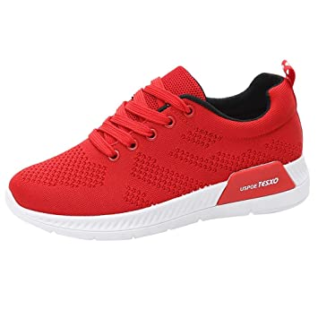 LuckyGirls Mujer Zapatillas de Correr Malla Casual Calzado de Deporte Planos Transpirables Zapatos con Cordones Moda