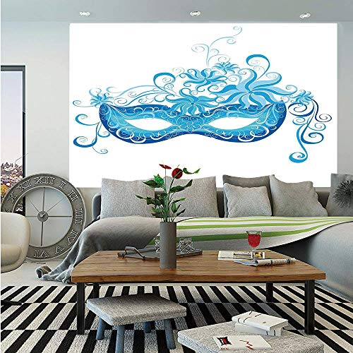 SoSung Masquerade Wall Mural,Venetian Style Mask Majestic Impersonating Enjoying Halloween Night Theme,Self-Adhesive Large Wallpaper for Home Decor 55x78 inches,Blue and Sky Blue ()