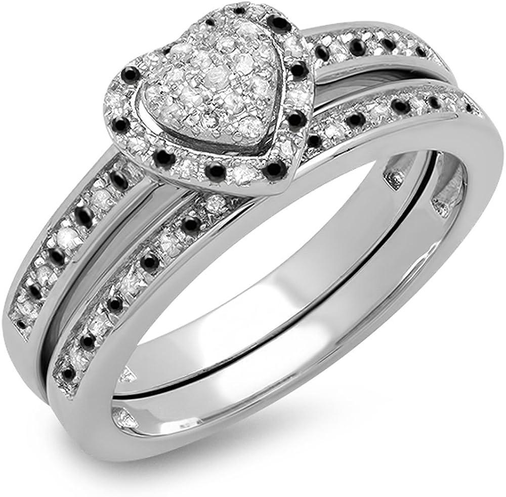 Dazzlingrock Collection 0.23 Carat (ctw) Black & White Diamond Heart...