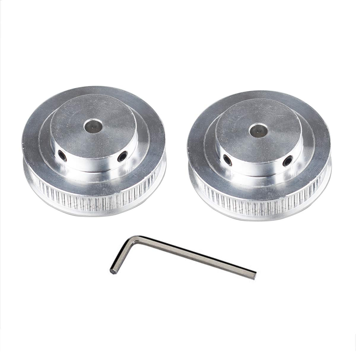 6mm Width Pack-of-2 GT2 Timing Belt Pulley Synchronous Gear Aluminium Wheel for 3D Printer 60 Teeth 5mm Bore