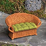 Miniature Dollhouse FAIRY GARDEN /Wicker Settee With Green Cushion