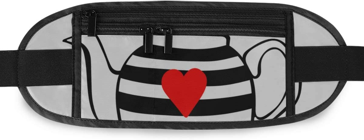 Black Cat Teapot Striped Teapot Red Running Lumbar Pack For Travel Outdoor Sports Walking Travel Waist Pack,travel Pocket With Adjustable Belt
