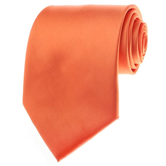 TopTie Mens corbata Solid Color Naranja corbata, formal Neck Ties ...