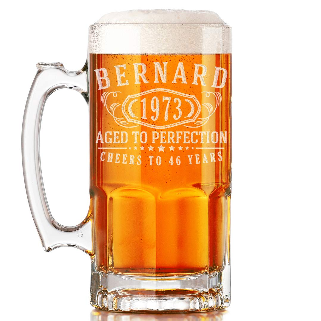 Personalized Etched 34oz Glass Beer Mug for Birthday Gifts