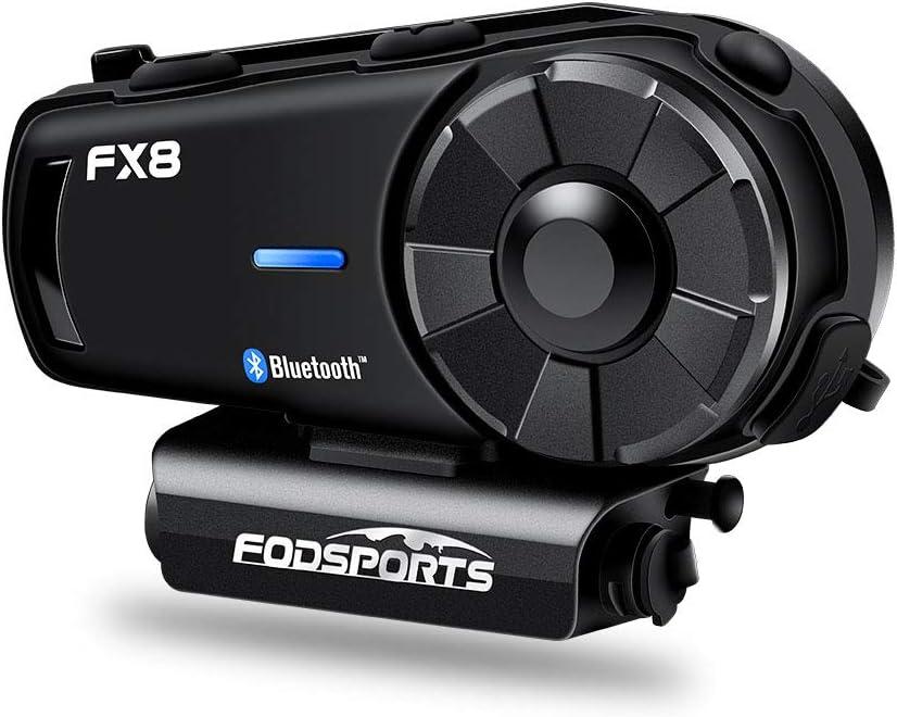 FODSPORTS FX8 Intercomunicador Casco Moto Fodsports Con Mejora De Señal De Antena 30%, FM, Reducción De Ruido CVC Profesional, Calidad De Sonido ...