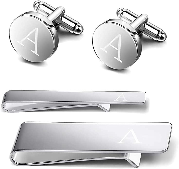 Udalyn Engraved Initial Cufflinks and Tie Clips Set for Men Wedding Business Jewelry with Gift Box Alphabet A-Z
