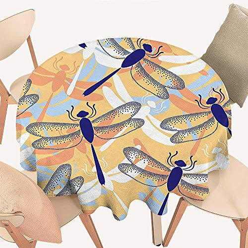 The Round Table Cloth Uneven Big Repetitive Dragonfly Figures with Two Pairs of Patched Wings Flying Predator for Birthday Party, Graduation Party, 51 INCH Round