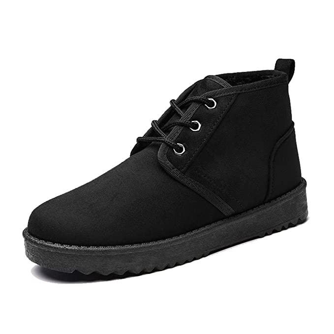 frauen kurze stiefel baumwolle wildleder flache ferse dicker plüsch warm ankle casual schnürsenkel sportschuhe . black . 38 qb9yg4