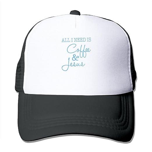 Amazon.com  All I Need Is Coffee And Jesus Trucker Hat Snapback Cap ... 02c31beb8e89