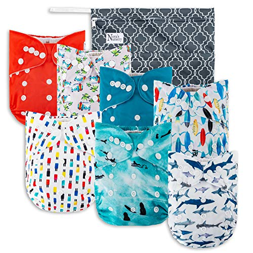 Nursery Clothes - Surfs Up Cloth Pocket Diapers 7 Pack, 7 Bamboo Inserts, 1 Wet Bag by Nora's Nursery