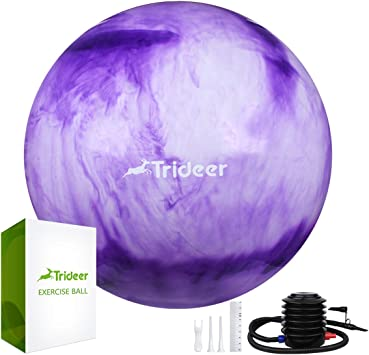 Trideer Exercise Ball (Multiple Color), Yoga Ball, Birthing Ball with Quick Pump, Anti-Burst & Extra Thick, Heavy Duty Ball Chair, Stability Ball ...