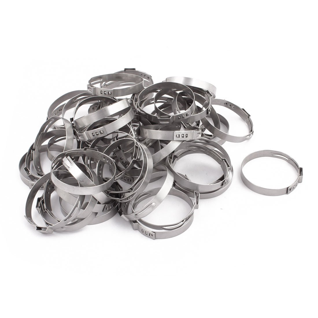 uxcell 42.3mm-45.5mm 304 Stainless Steel Adjustable Tube Hose Clamps Silver Tone 50pcs