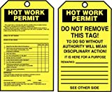 Accuform Signs TAR724 Tags By-The-Roll Inspection and Status Record Tags, Legend ''HOT WORK PERMIT'', 6.25'' Length x 3'' Width x 0.010'' Thickness, PF-Cardstock, Black on Yellow (Pack of 250)