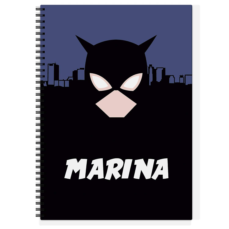Mujer Maravilla Varios Dise/ños y tama/ños a Elegir Vuelta al Cole Cuaderno Superh/éroes Personalizado con Nombre o Texto